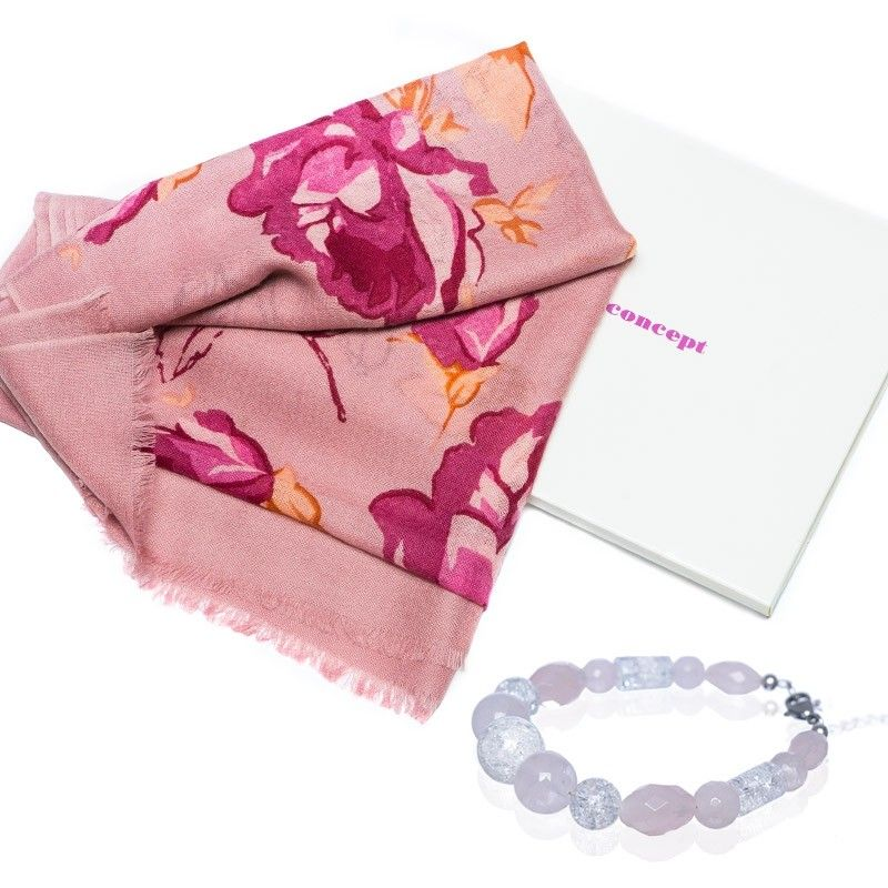 CADOU: Esarfa Mila Schon roses si bratara cuart roz si cristal gheata