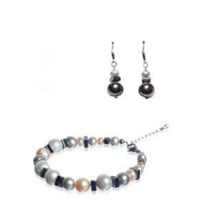 CADOU: Cercei din argint si bratara cu hematit si perle de cultura