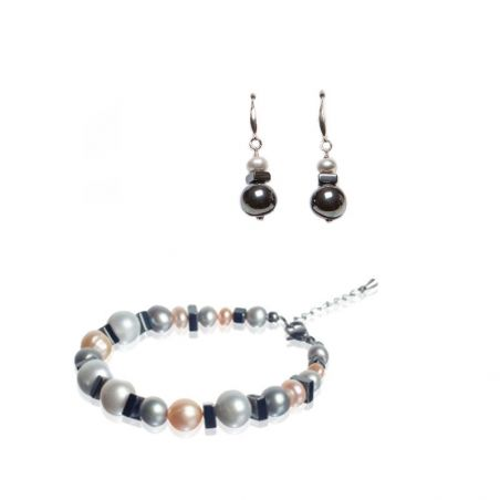 GIFT: Earrings and bracelet with hematite and pearls