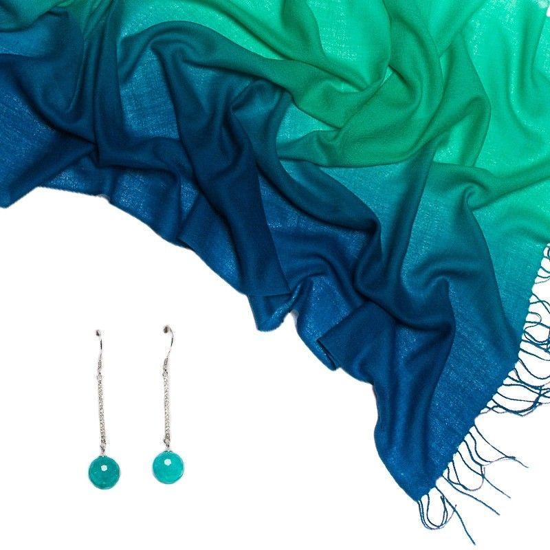 CADOU: Esarfa Mila Schon green blue plain si cercei din argint agat turcoise