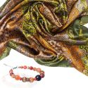 GIFT: olive paisley scarf and bracelet Marina D`Este orange agate and quartz