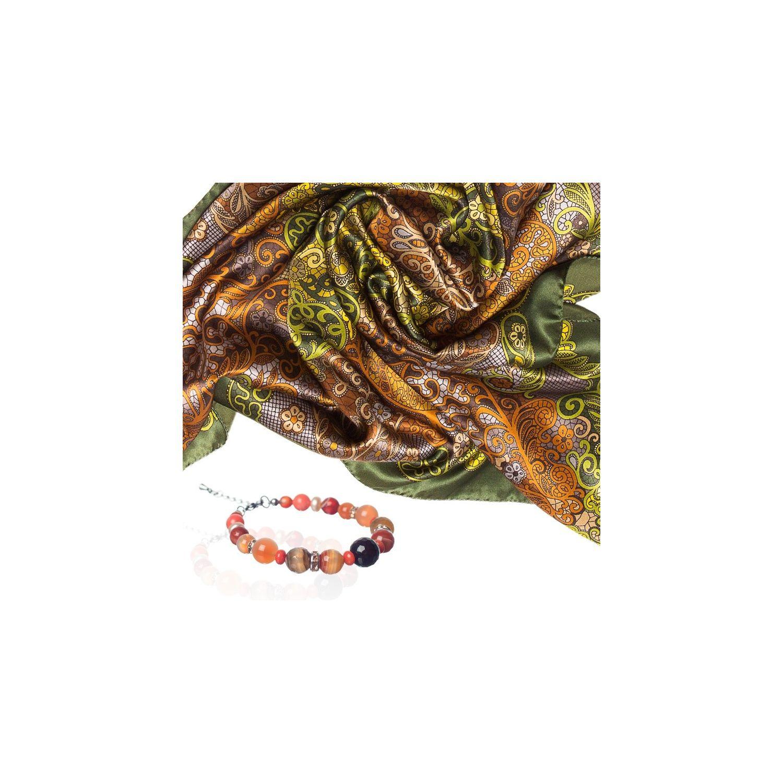 CADOU: Esarfa Marina D`Este paisley olive si bratara agat portocaliu si cuart roz
