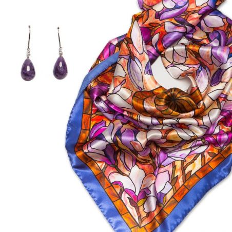 GIFT: Laura Biagiotti scarf Volare and Amethyst Earrings