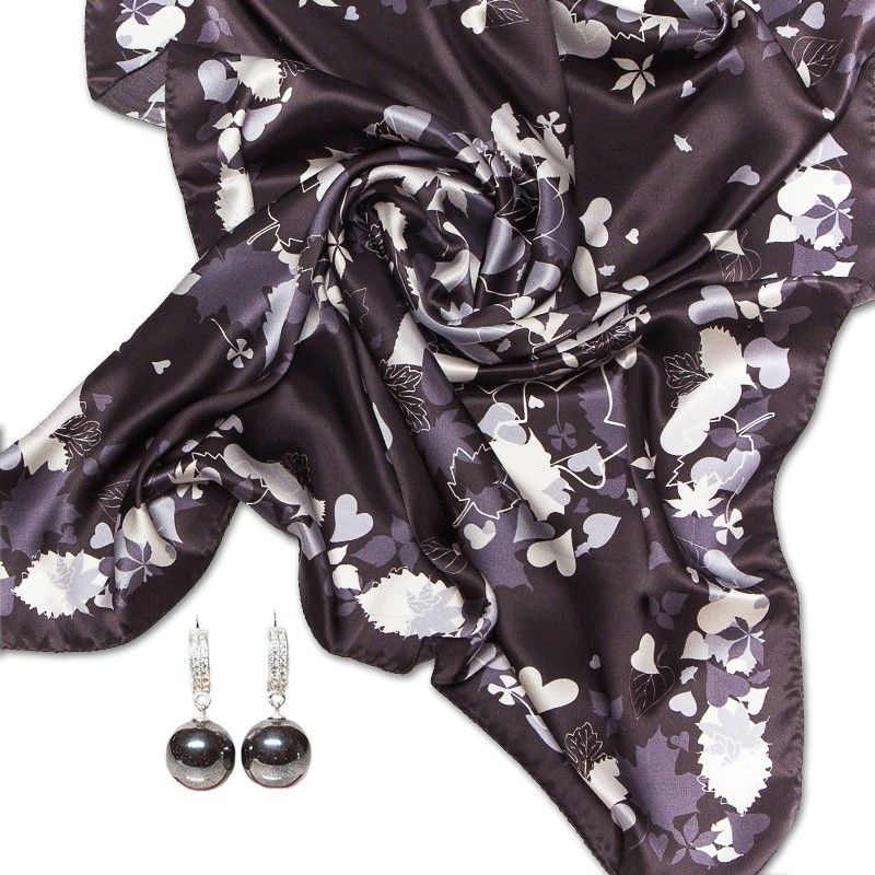 GIFT: Marina D`Este white scarf silver heart earrings hematite