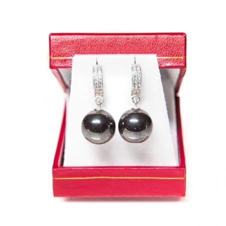 GIFT: Marina D`Este white scarf silver heart earrings hematite