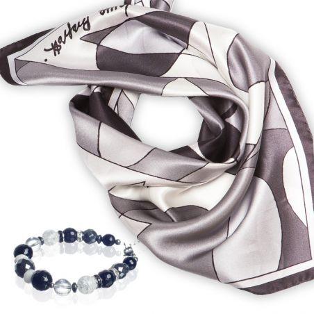 CADOU: Esarfa Laura Biagiotti black abstract si Bratara onix si cristal gheata