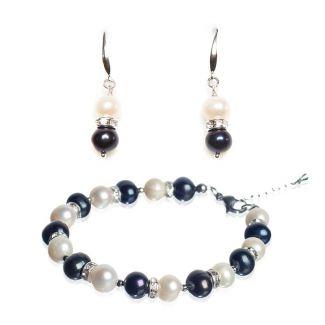 CADOU: Bratara perle de cultura albe si negre si cercei argint cu perle albe si negre