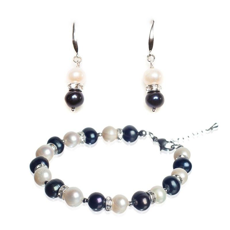 GIFT: Bracelet black and white pearls and silver earrings with black and white pearls