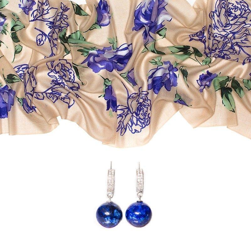 CADOU: Esarfa lana Mila Schon bej blue roses si cercei argint lapis