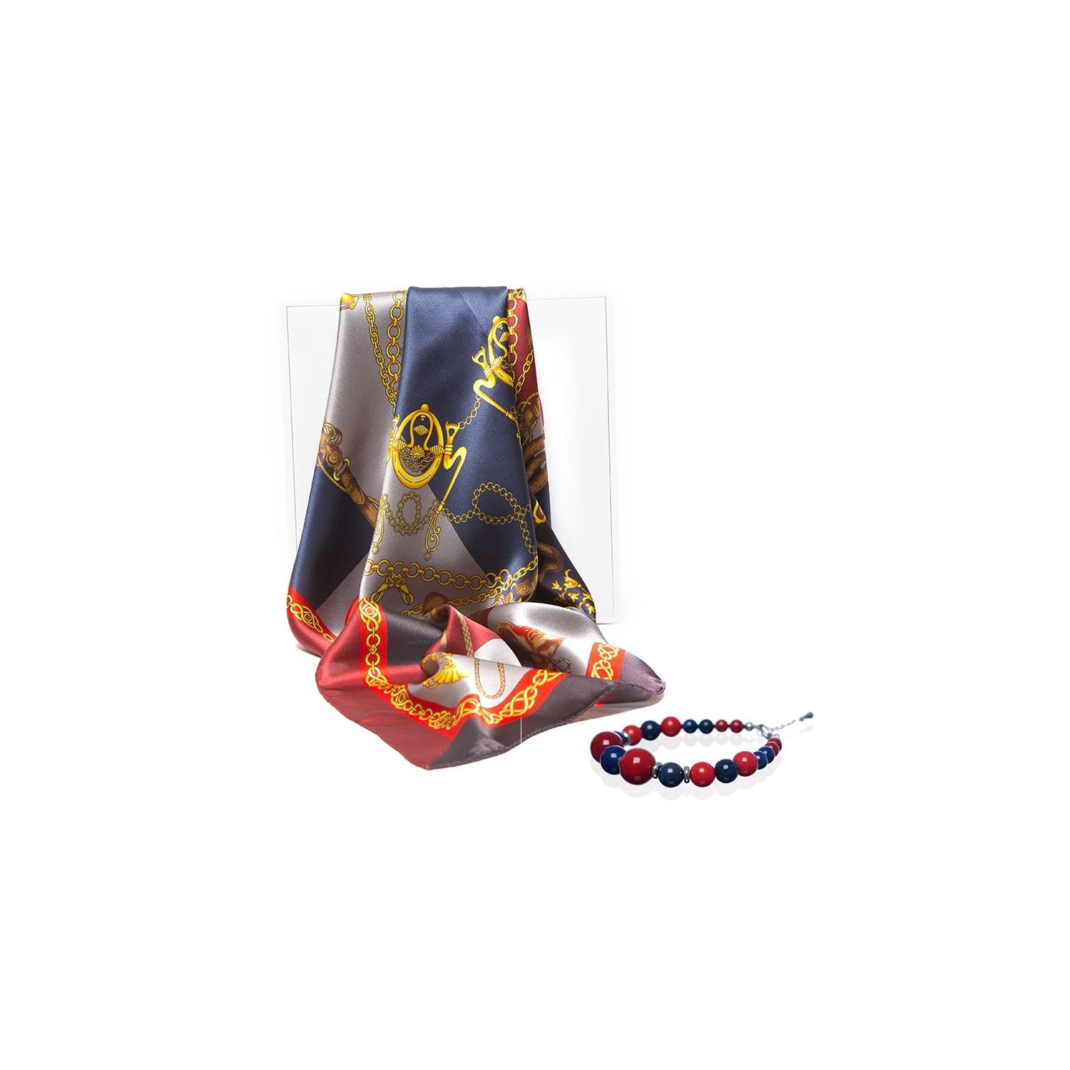 GIFT: silk scarf navy Sienna Marina D'Este and lapis lazuli and red coral bracelet