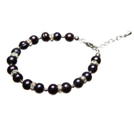 Bratara perle negre si rhinestone alb