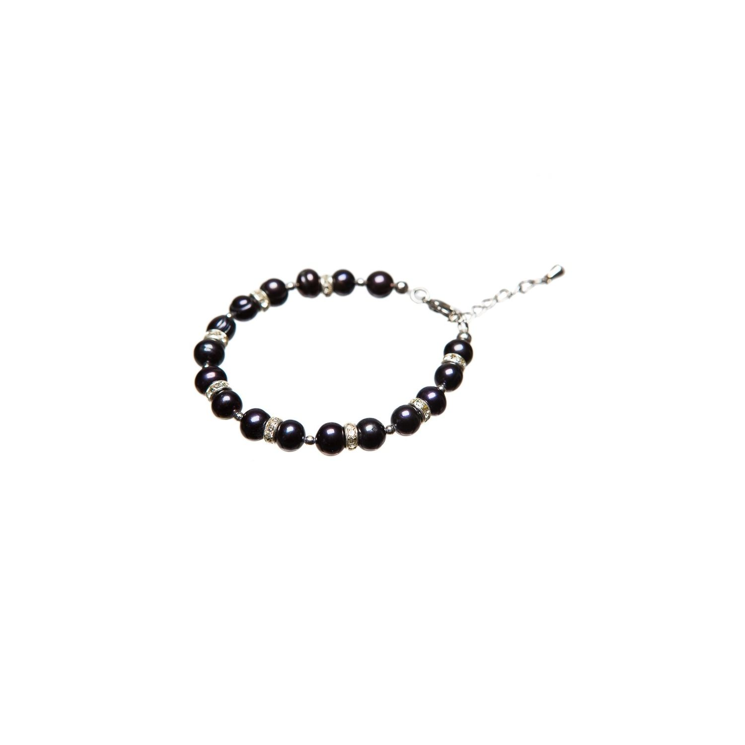 Black and white pearl bracelet rhinestone