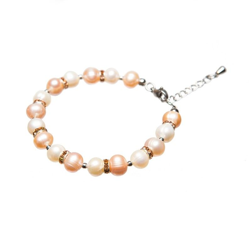 Bratara perle alb si piersica