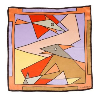 Esarfa matase naturala Laura Biagiotti abstract fishes beige and coral