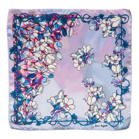 Silk Scarf Laura Biagiotti blue flowers