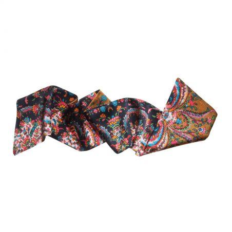 Black floral print hair scarf