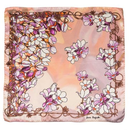 Silk Scarf Laura Biagiotti purple flowers