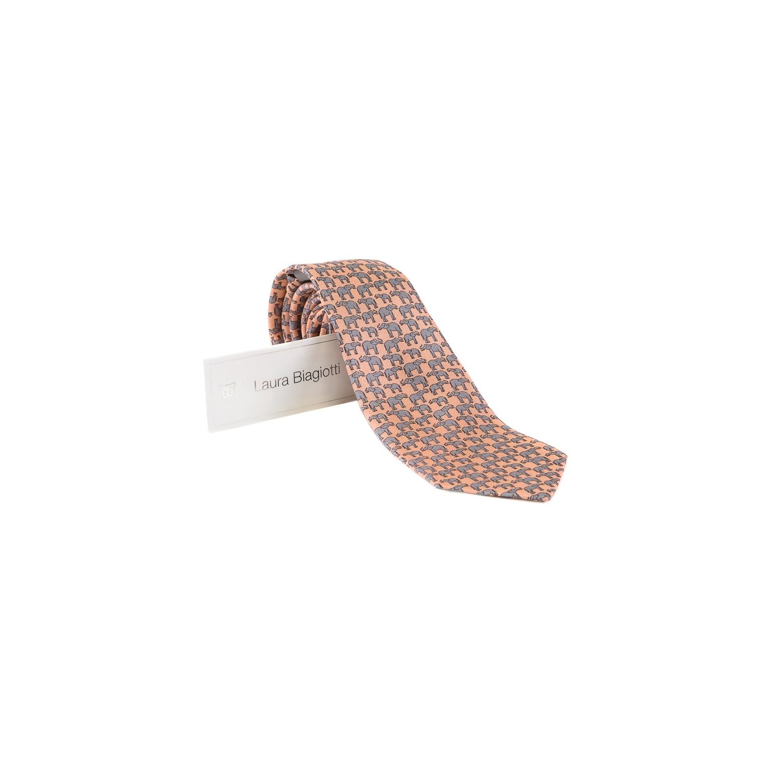 Laura Biagiotti tie out of office salmon