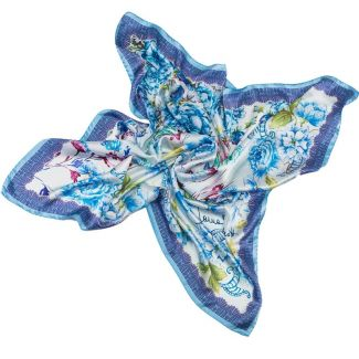 Silk Scarf Laura Biagiotti delicate flowers blu