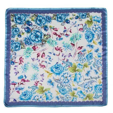 Esarfa matase naturala Laura Biagiotti delicate flowers blu