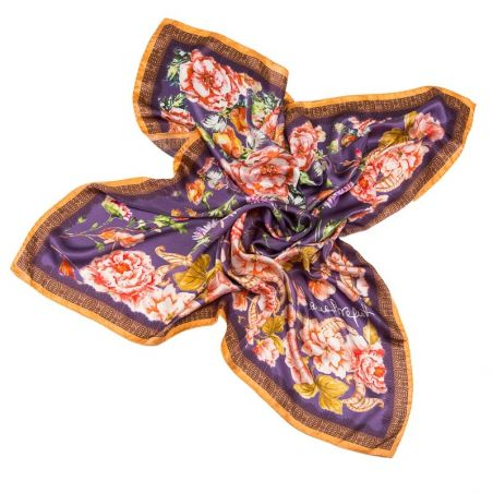 Silk Scarf Delicat Flowers Purple