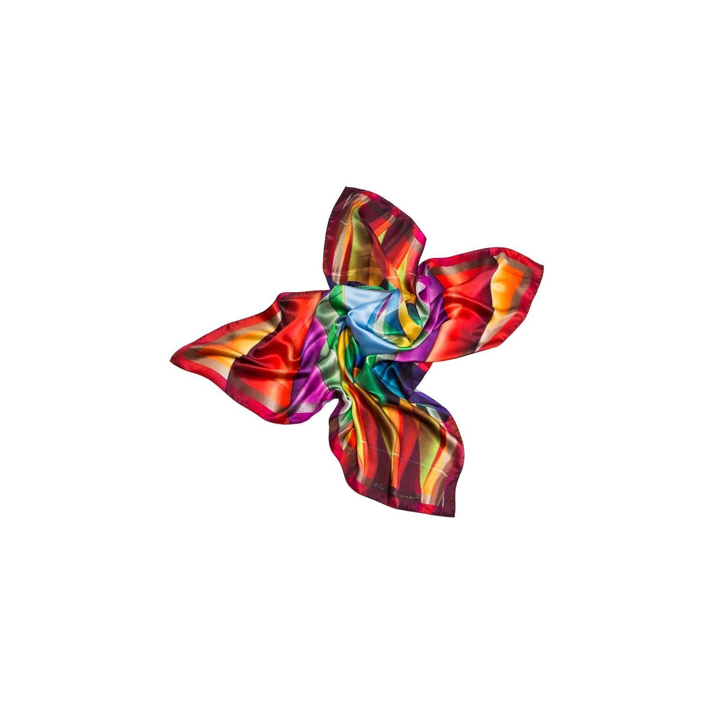 Esarfa matase naturala Mila Schon baloons rainbow