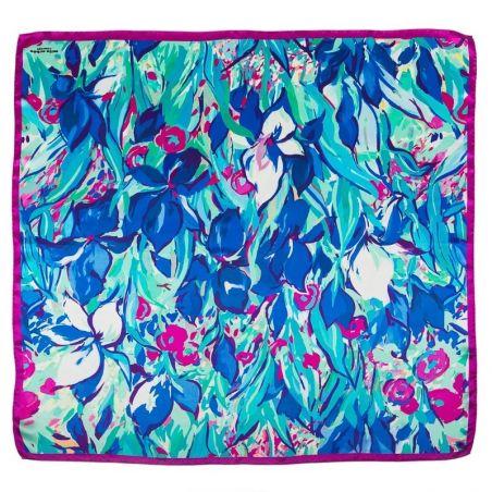 Silk Scarf Mila Schon irises fucsia with blu