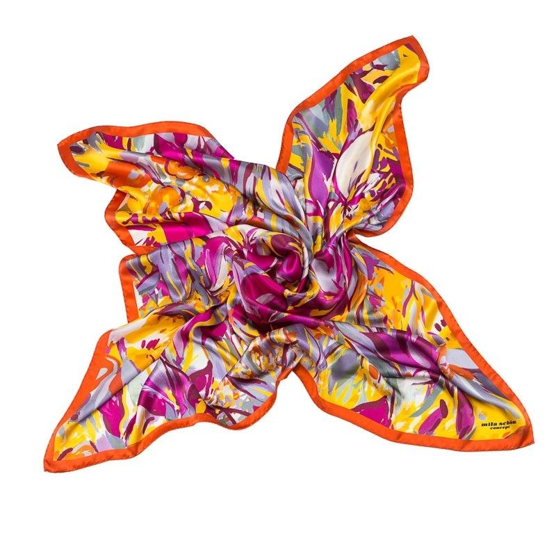Esarfa matase naturala Mila Schon irisi galbeni cu magenta