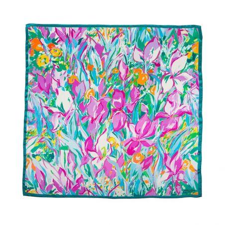 Silk Scarf Mila Schon irises turcoise with pink