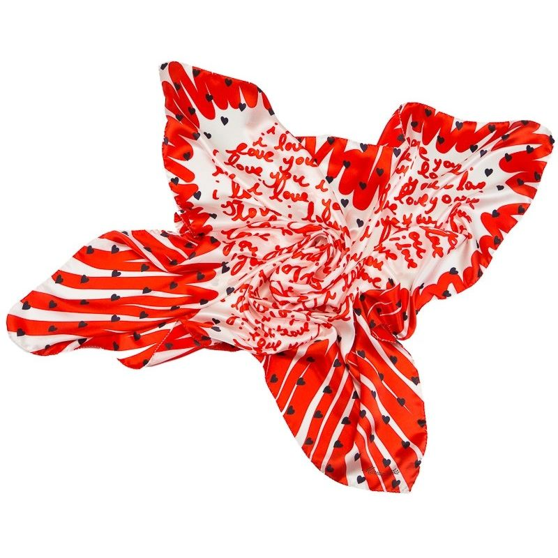 Silk Scarf  Marina D`Este I love you red