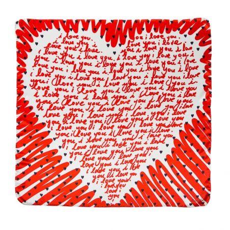 Silk Scarf  Marina D'Este love you red