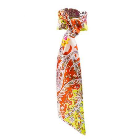Eşarfă cu volan paisley galben portocaliu