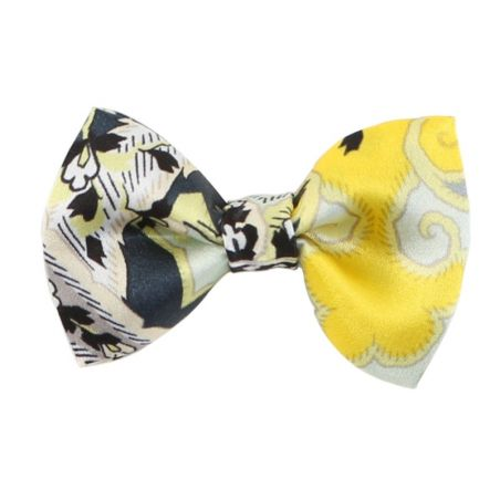 Gray-yellow paisley bow