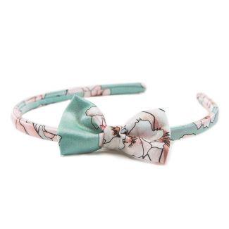 Headband cu fundita flori cuart pe turcoise deschis