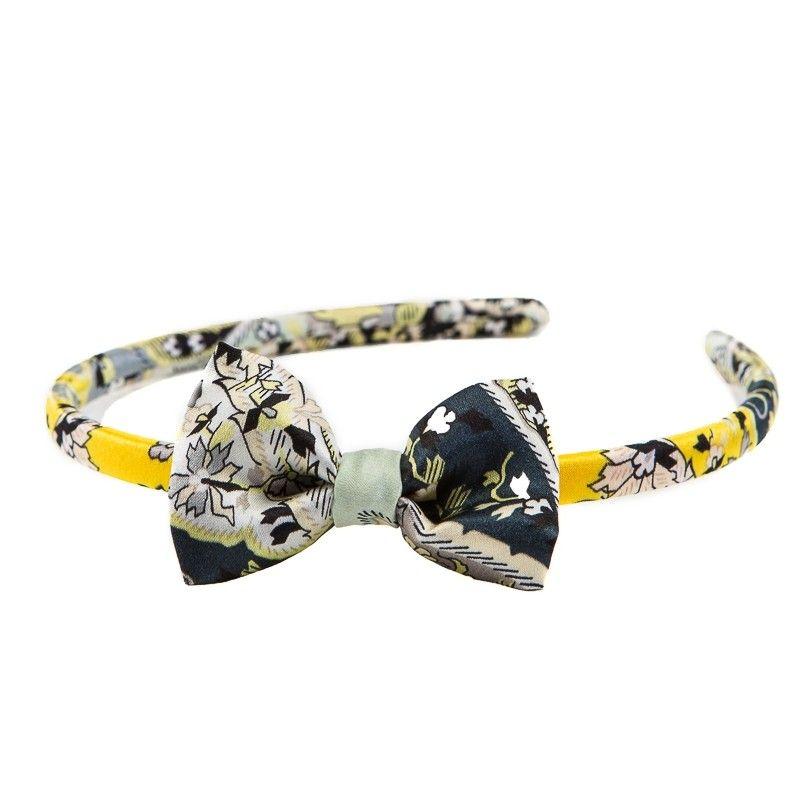Headband cu fundita paisley gri galben