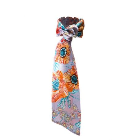 Coral poppies Flounce Scarf