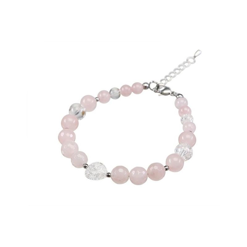Rose quartz crystal bracelet and heart ice