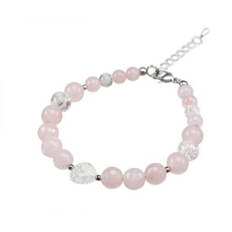 Rose quartz crystal bracelet and heart ice