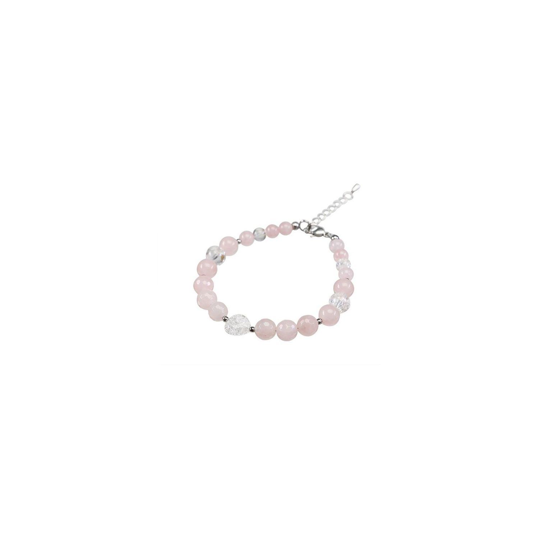 Bratara cuart roz si inima cristal de gheata