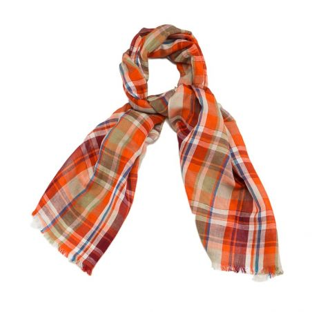 Esarfa barbati Gaia orange plaid