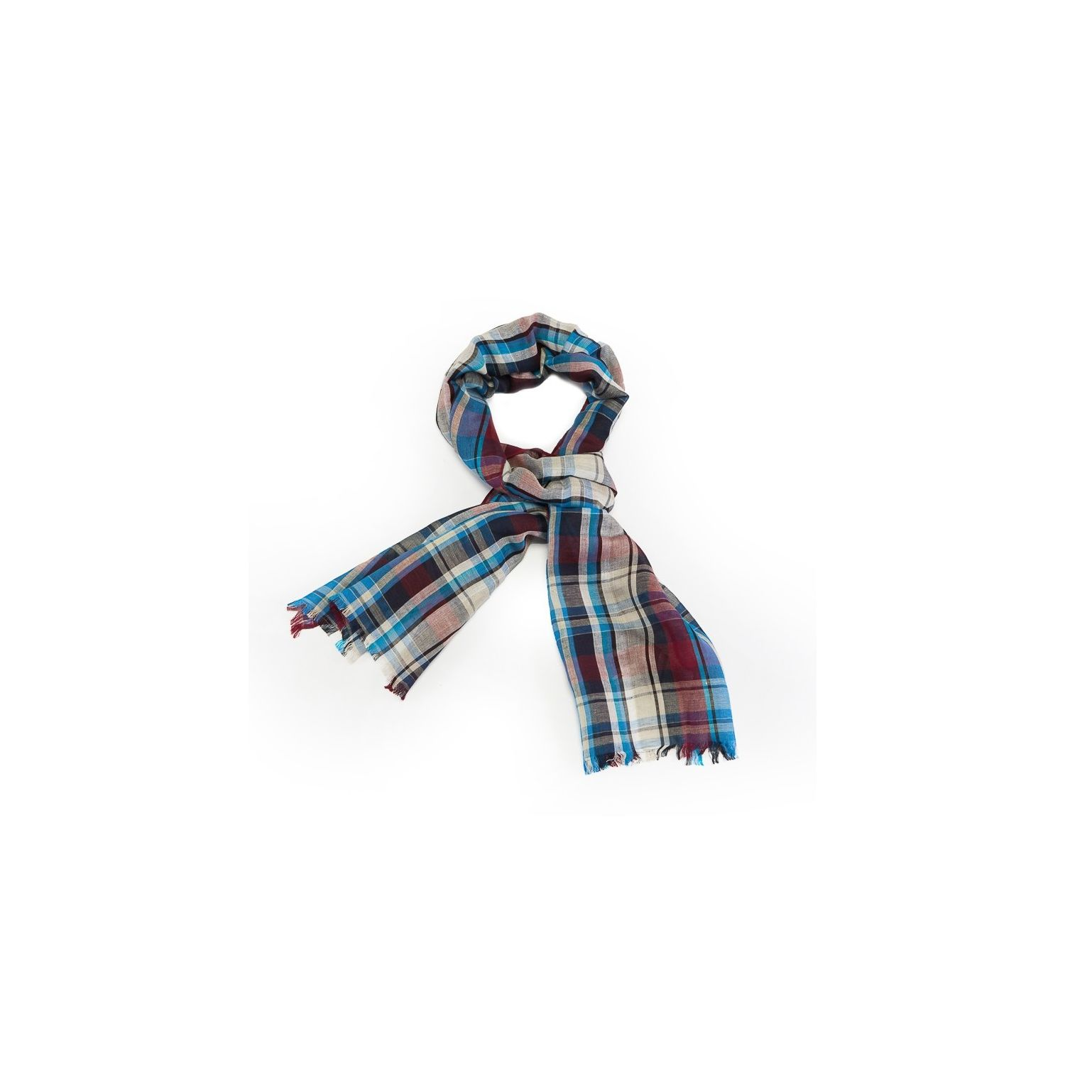 Scarf men Gaia blue plaid