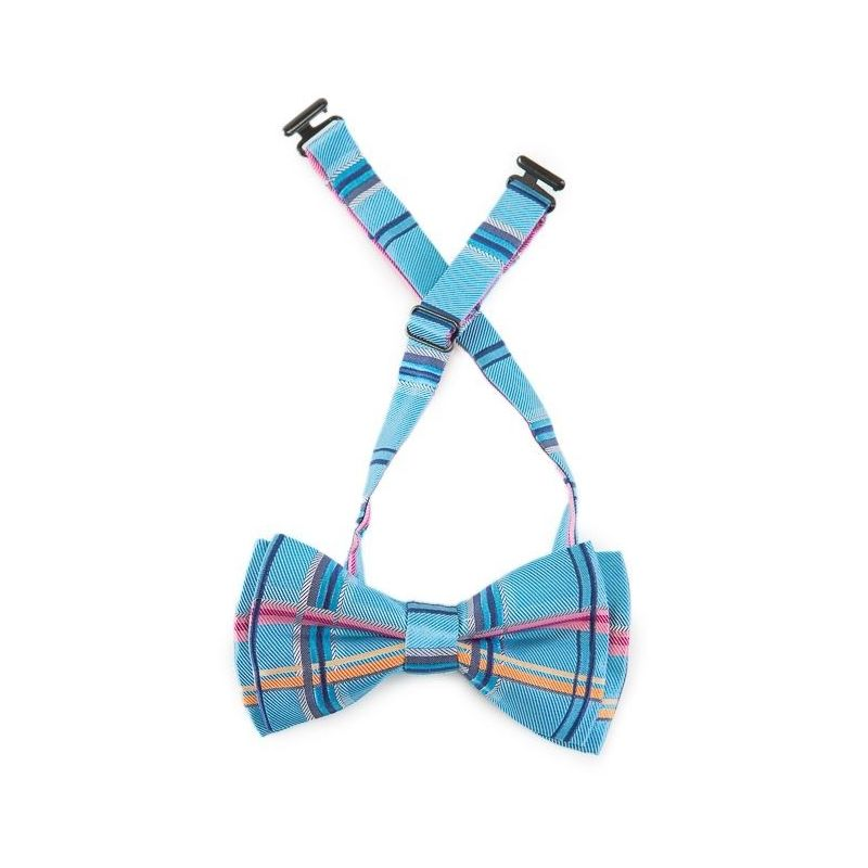 Blue silk bow tie with pink plaid men