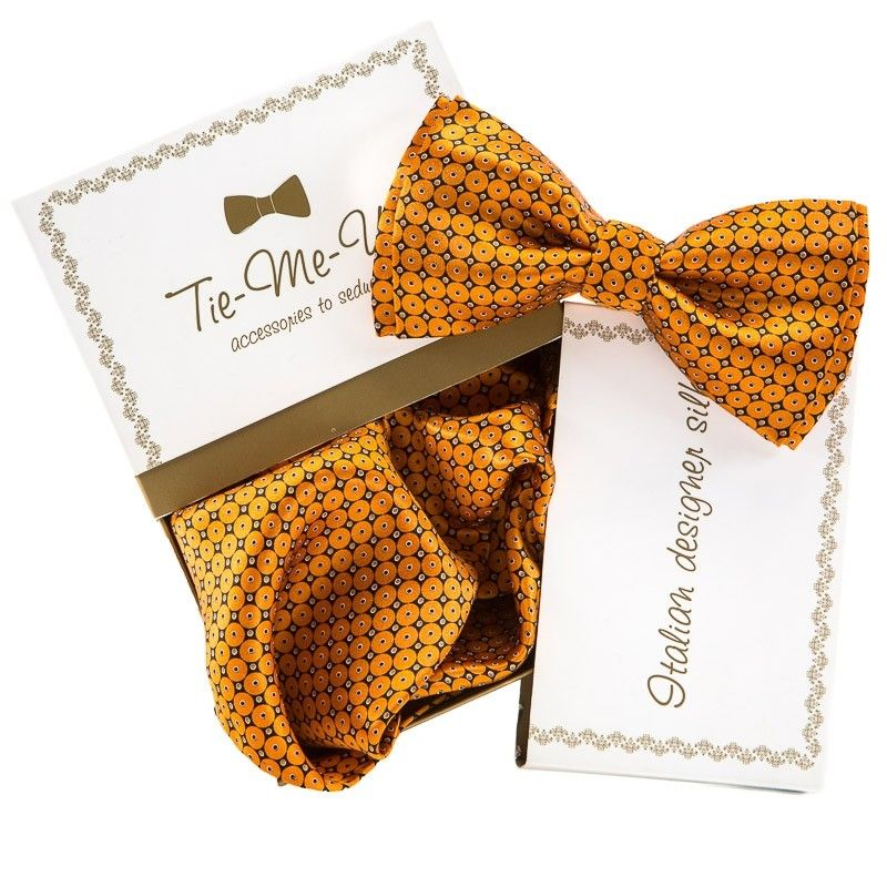 GIFT: Set handkerchief silk bow tie orange circles