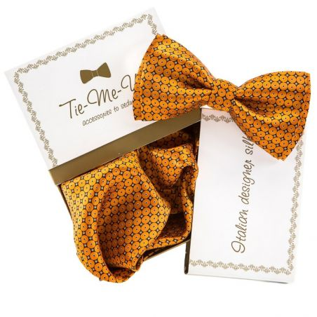 GIFT: Set bow tie silk handkerchief orange circles