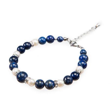 Bratara lapis lazuli si perle albe