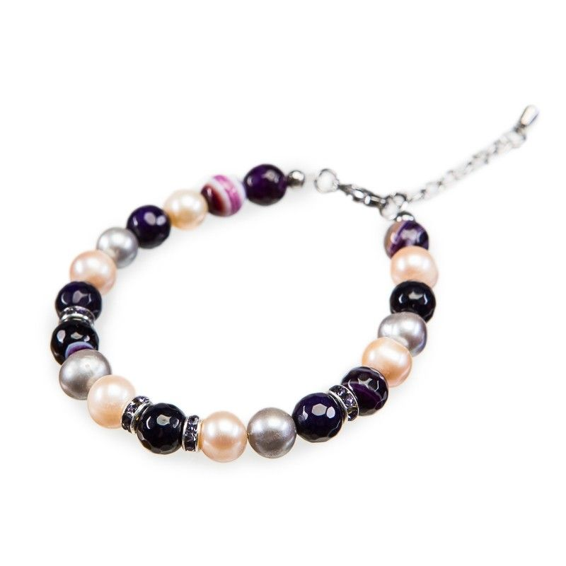 Purple lace agate and pearls bracelet
