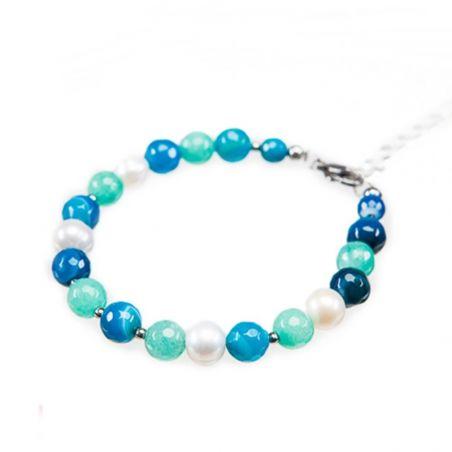 Bratara agat albastru, turcoaz si perle