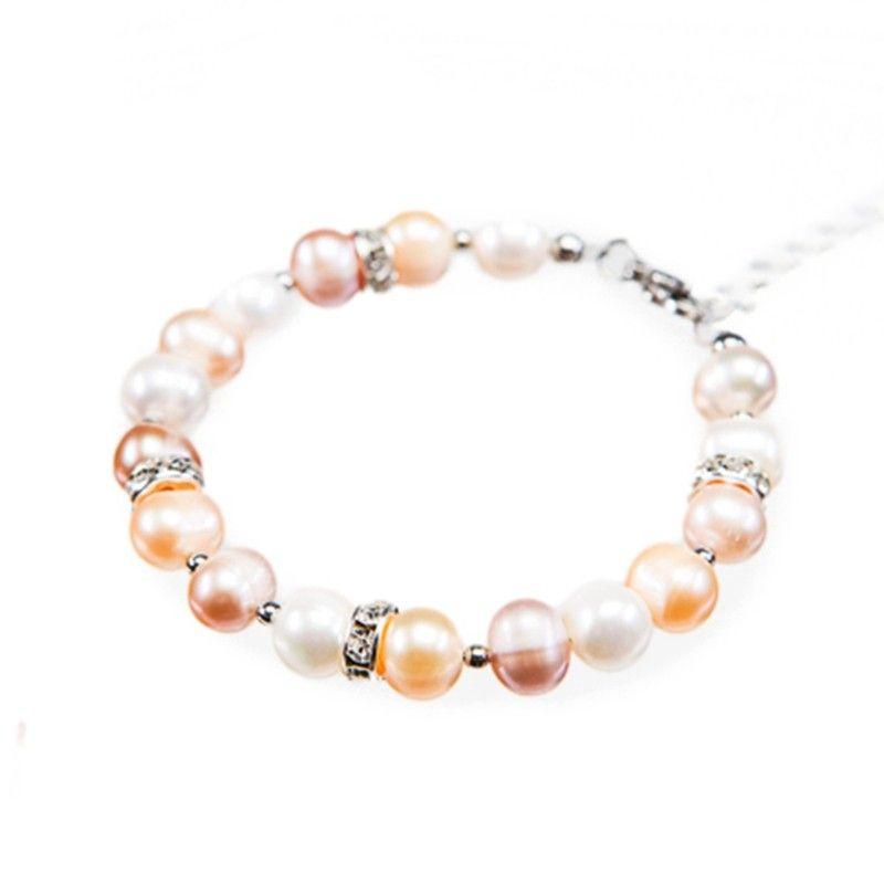 Bratara cu perle in trei culori si rhinestone