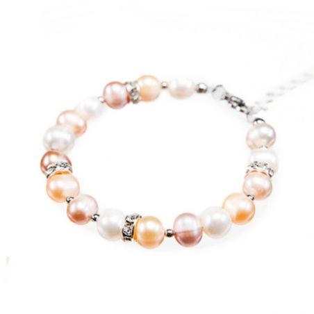 Bracelet with pearls in three colors and rhinestone