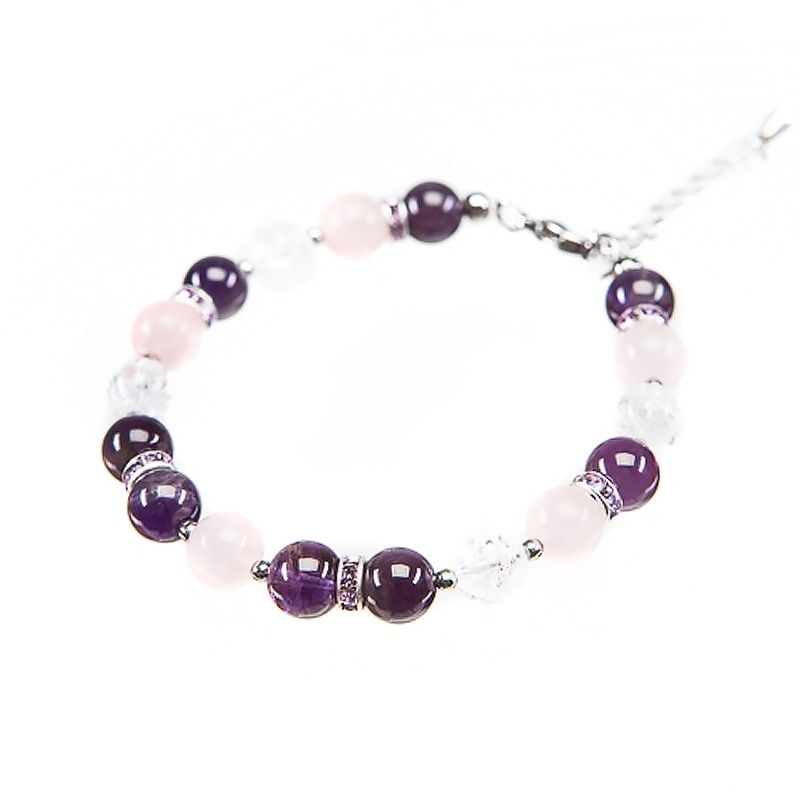 Bracelet amethyst, rose quartz and crystal ice